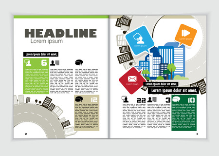 open magazine: Magazine layout, vector