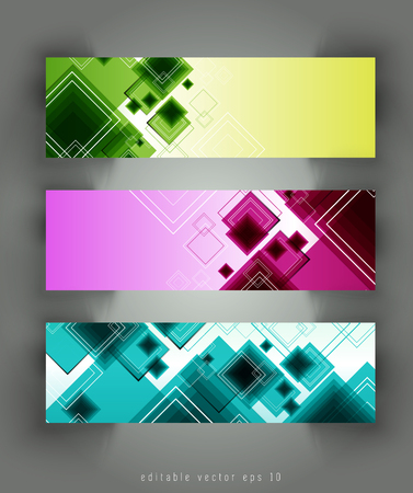 technology banner: Abstract backgrounds with vector design elements. Banner set
