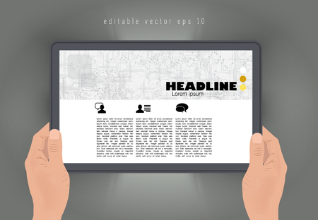 article: Tablet with business article. Vector Illustration