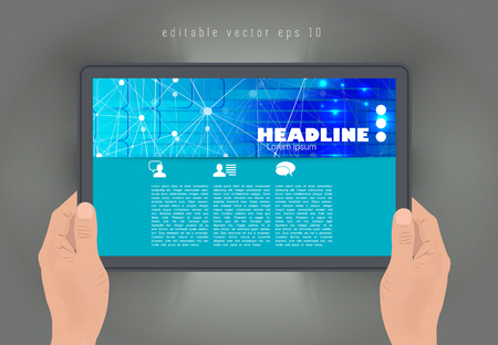 Tablet with business article. Vector Illustration