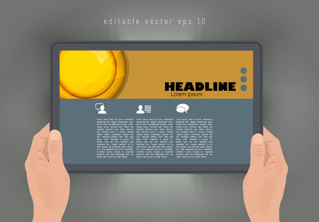 an article: Tablet with business article. Vector Illustration
