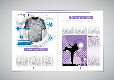 layout: Magazine layout with sports elements. Vector