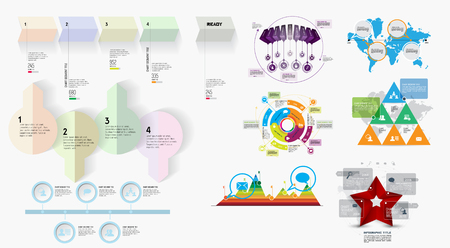 steppe: Collection of infographic vector design templates