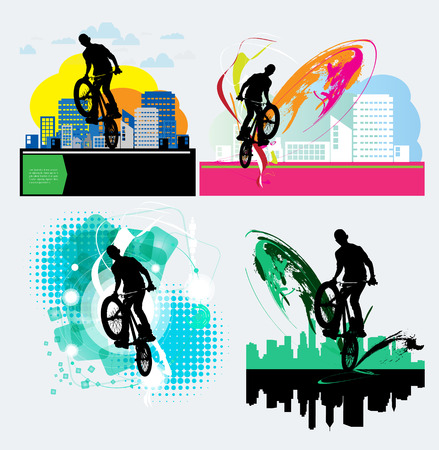 dirt bike: BMX biker. Vector