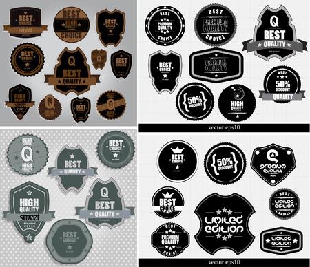 warrants: Labels set. Vector design elements