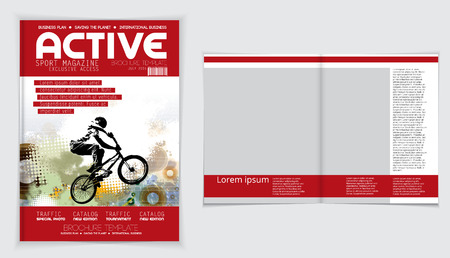 magazine: Cover active sports magazine, vector Illustration