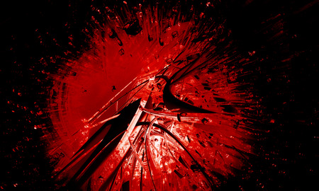 atomic center: Red explosion background Stock Photo