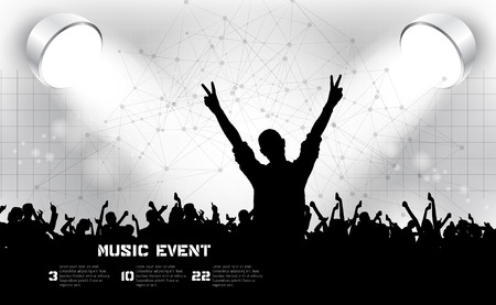 Music event illustration. Young people dancing on concert. editable vector