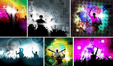 party dj: Ilustración evento musical. la gente del baile Foto de archivo