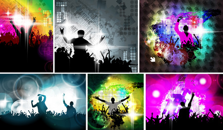 party people: Music event illustration. dancing people Stock Photo