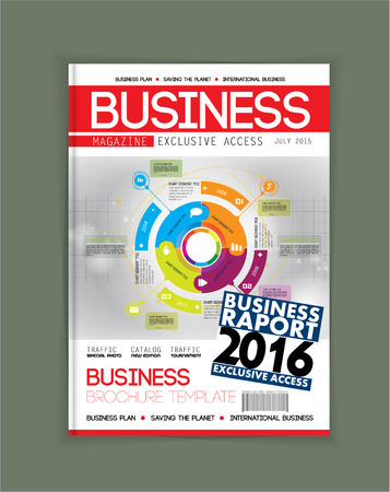 magazine: Business magazine cover layout, vector