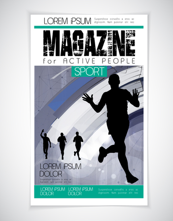 sprinting: Sport magazine cover, vector