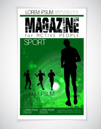 magazine: Sport magazine cover, vector