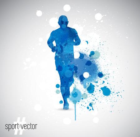 illustration of splashy runner silhouette Illustration