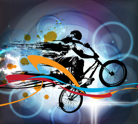pedaling: Extreme sports, illustration of a BMX rider Stock Photo