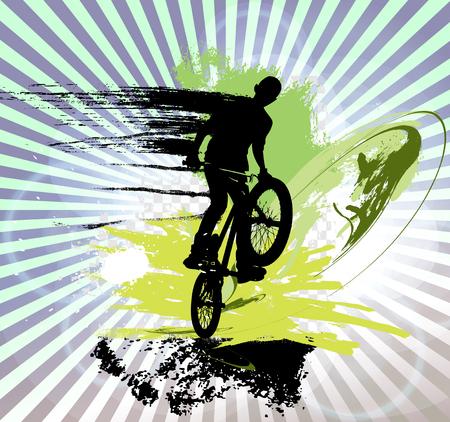 extreme sports: Extreme sports, illustration of a BMX rider Stock Photo