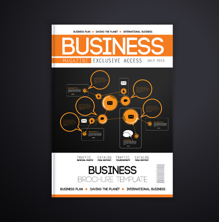 business media: Magazine cover design, vector
