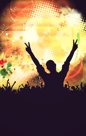 performace: Disco club, people with hands up having fun. Vintage mood illustration