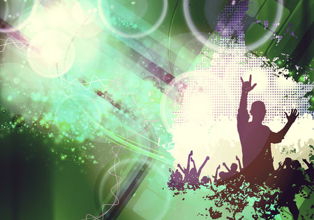 performace: Concert, disco party. Music illustration