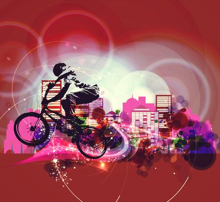 extreme sports: Extreme sports, BMX rider. Vintage style illustration