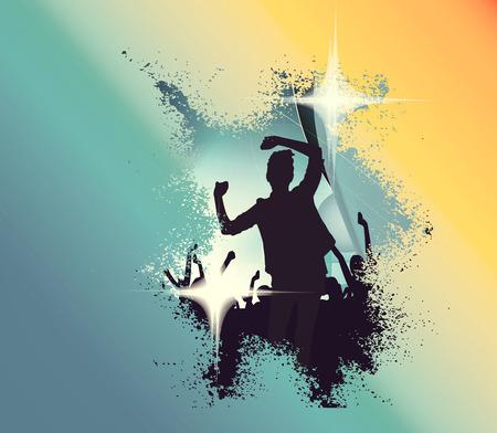 Concert, disco party. Mensen met handen omhoog met plezier. Vintage mood illustratie