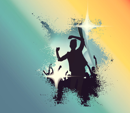performace: Concert, disco party. People with hands up having fun. Vintage mood illustration