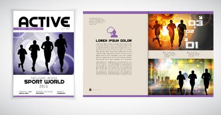 magazine layout: Sport magazine layout, vector Illustration