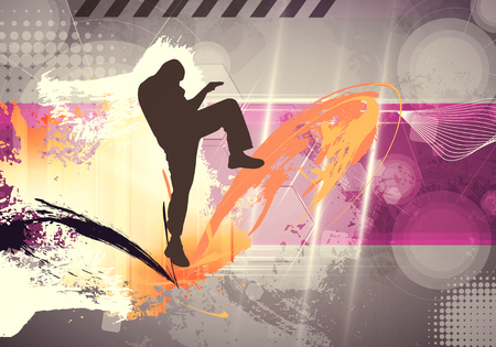 kyokushin: Karate illustration. Vintage style