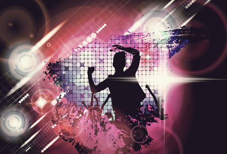 people having fun: Music event. People with hands up having fun. Vintage style illustration Stock Photo