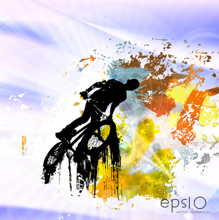 black youth: Sport illustration. Colorful background.