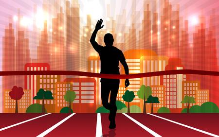 Marathon, sport illustration on a colorful background. Illustration