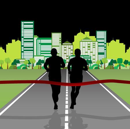 jogging in nature: Marathon, sport illustration