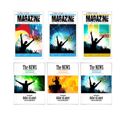 discoteque: Template music magazine cover. Vector Illustration