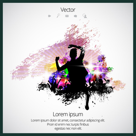 Silhouette of dancing people Illustration
