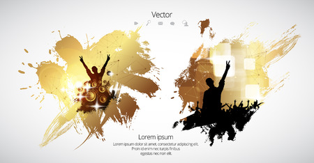 Dancing people, party background Illustration