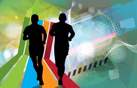 yogi: Silhouette of marathon runner