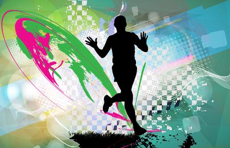 health and fitness: Silhouette of marathon runner