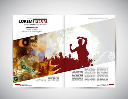 dancing club: Music magazine layout, vector illustration.
