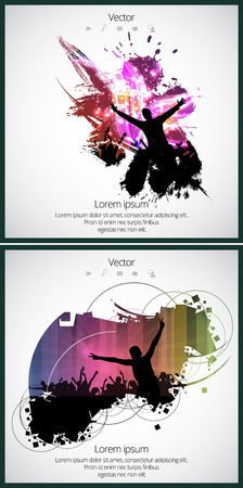 applauding: Dancing people. Music event Illustration