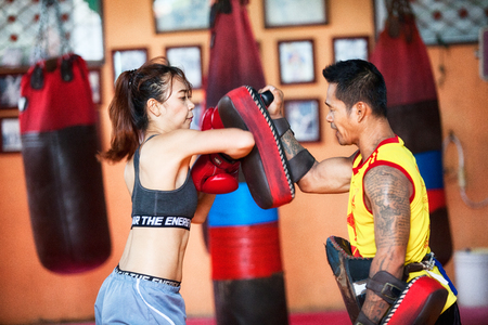 BANGKOK, THAILAND, JULY 30, 2017: Unidentified boxer in Muaythai School in Bangkok, Thailand