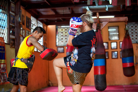 BANGKOK, THAILAND, JULY 30, 2017: Unidentified boxer in Muaythai School in Bangkok, Thailand