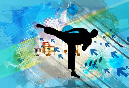 foots: Martial arts. High kick vector illustration.