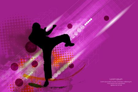Martial arts. High kick vector illustration. Vektoros illusztráció