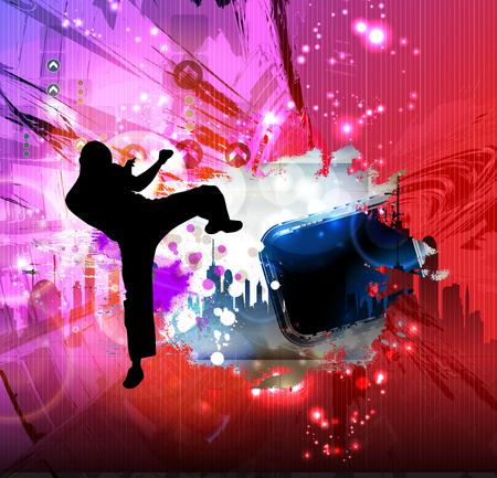 Martial arts. High kick vector illustration.