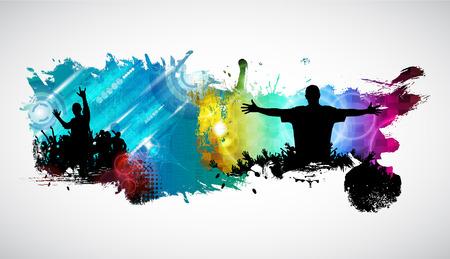 Silhouette of dancing people  イラスト・ベクター素材