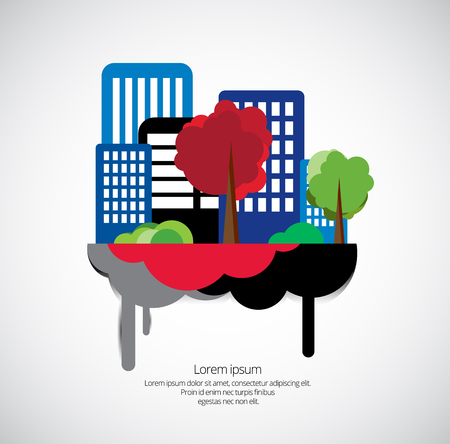 Gebäude und Bäume in der Stadt Standard-Bild - 92177252