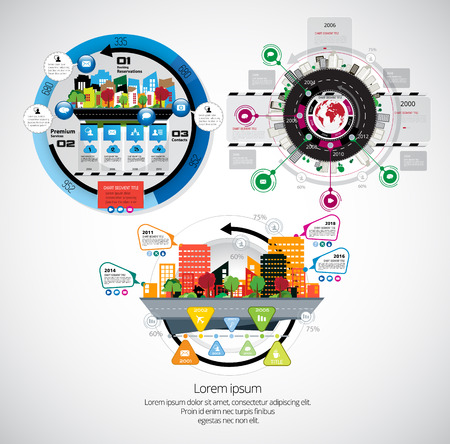 Business infographic layout with industrial building design in coloful illustration. Çizim