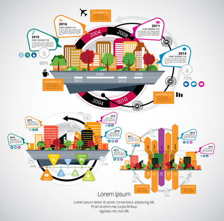 Business infographic layout with industrial building design in coloful illustration. Illustration