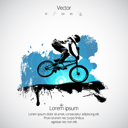 Silhouette of bicycle jumper vector illustration.