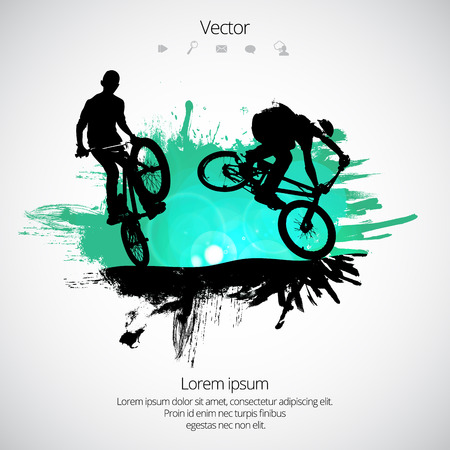 Silhouette of bicycle jumper vector illustration. Zdjęcie Seryjne - 93451617